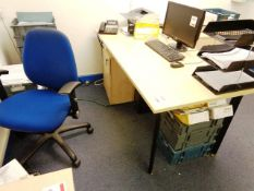Two light wood office desks, two blue cloth upholstered chairs, two light wood 3-drawer pedestals
