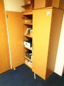 Light wood twin door filing cabinet