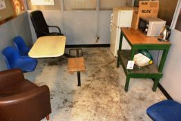 Contents of lot 160, to include steel frame, plastic chair, table unit, 3 various chairs, fridge/