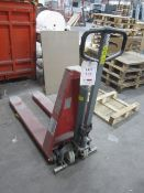 Climax H10M hydraulic hi-lift pallet truck, SWL 1000kg. NB: This item has no record of Thorough...