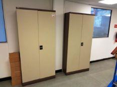 Three twin door steel framed filing cabinets