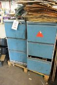 Two steel frame 3 drawer filing cabinets including contents, to include various spare parts,