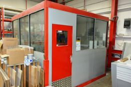 Steel frame, partially glazed internal office structure, approx dimensions W 3100 x L 300 x H