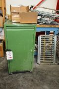 Schafer steel frame single door mobile cabinet and timber frame mobile table, approx 1000x1600mm (
