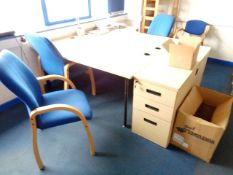 Two light wood L shaped office desks, two light wood 3 drawer pedestals, four light wood blue