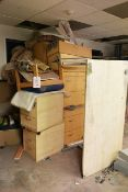 Quantity of light oak effect office furniture (as lotted)