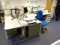 Grey laminate L shaped office desk, grey laminate single table, two grey laminate 3-drawer pedestals