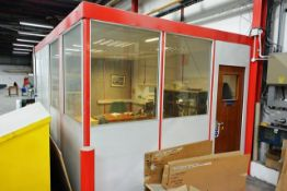 Steel frame, partially glazed internal office structure, approx dimensions W 3000 x L 4000 x H