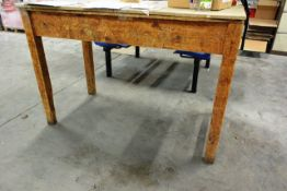 Approx ten timber frame rectangular tables, located throughout (only 1 in image)