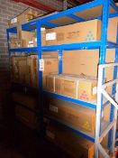 Two bays of adjustable stores racking and quantity of assorted ink cartridges & drums