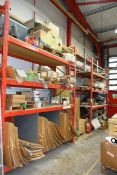 Two bays of adjustable boltless pallet racking, approx height 3350mm approx width per bay 2800mm,
