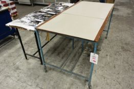 Two steel frame rectangular tables, approx lenth 1800mm