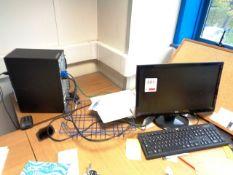 Lenovo computer system, HP flat screen monitor, keyboard, mouse and a HP Laserjet P2035 printer