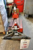 Two out of commission battery powered pallet trucks (no batteries included, sold as spares or
