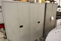 Three various 2 door steel storage cupboards