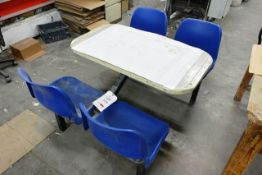 Steel frame/four plastic chair snack table