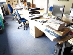 Three light wood office tables, three matching 3-drawer pedestals, two blue cloth upholstered chairs