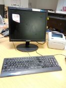 HP ProDesk computer system, Samsung flat screen monitor, keyboard, mouse, and a Zebra GC420d label