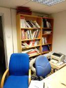 Two light wood office tables, light wood 3 drawer pedestal, three light wood multi shelf bookcases