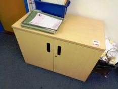 Three light wood twin door filing cabinets