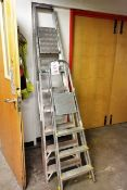 Two various aluminium A frame step ladders