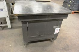Timber frame/steel topped mobile storage cupboard, approx 900x900mm