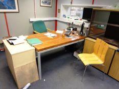 Dark wood laminate, metal framed desk, light wood 3-drawer pedestal, light wood twin door filing