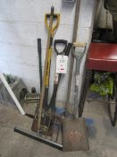 Assorted tools including fork, spades, squeegee, brush, edge grass shears etc.