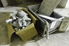 Stainless steel mobile storage bath/bin, approx 1m in length, with quantity of stainless steel