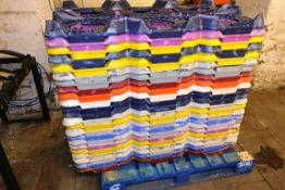 Large quantity of plastic cask storage pallets, approx. 130 (image for illustrative purposes only).