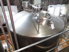 Stainless steel jacketed 40 barrel FV fermenting tank, approx 2400mm dia x 2500mm height (3000mm
