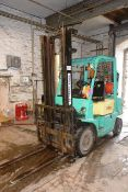 Yang Puma, LPG powered, duplex mast forklift, capacity, hours, serial no. and lift height unknown.