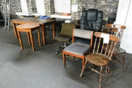 Four various tables/desks and three various tables and fridge freezer