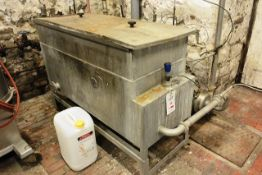Stainless steel rectangular liquid holding tank with two heating elements, approx 1500 x 580 x