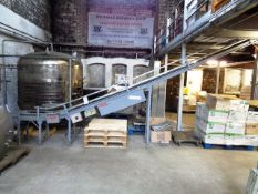 Dexion motorised elevating belt conveyor, used for malt loading, max safe working load 100kg = 4 x