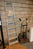Aluminium A frame step ladder and sack truck
