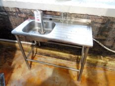 Stainless steel single basin sink unit, 1000mm length