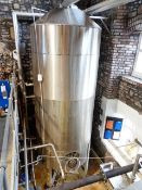 Stainless steel framed jacketed 40 barrel hot liquor tank, 2000mm dia x 4200mm height (5150mm to