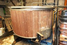 Stainless steel / timber clad mash tank, mounted on steel frame, approx 1750 x 2100mm dia, and