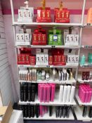 Contents to 1 bay of shop display shelving, to include assortment of Revlon treatment products,