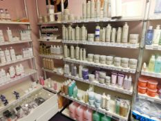 Assortment of beauty treatment products to shelving, including toner, hand treatment cream,