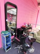 Hairdressing suite comprising 2 x stools, leather effect chair, mirror (fixed to wall) with