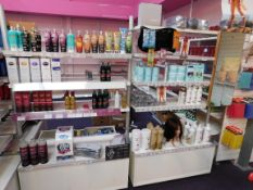 2 x Bays of shop display shelving and contents, including assortment of tanning products (tan