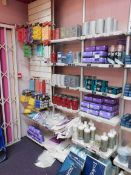 Contents to 1 bay of shop display shelving, to include an assortment of hair colour products, and