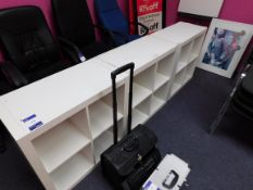 3 x Wooden low level pigeon hole shelving units