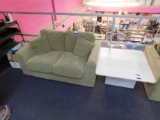 2 x Green 2 seater suede sofas with matching pouffe, and low level table