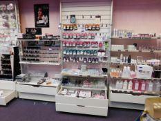 Contents to 3 x bays of shelving, to include assortment of nail treatment products
