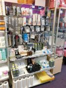Assortment of beauty products, to display, including tweezers, manicure correction pens, eyelash