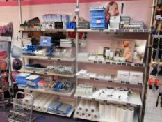 Contents to 2 bays of shop display shelving, to include assortment of nail treatment products (