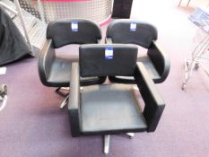 3 x Black leather effect chairs